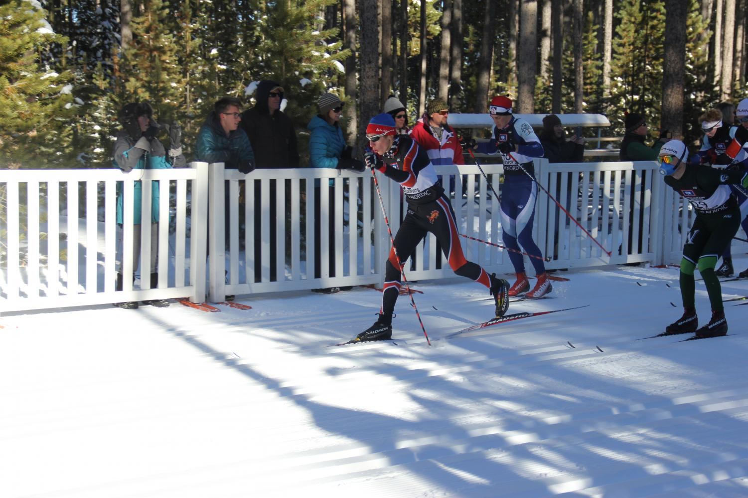 NC Mustang Ben Radosevich pulls away from the rest of the Varsity boys during the first nordic ski meet of the season. The meet took place on December eighth on Casper Mountain. Radosevich went on to comfortably win the race by 43 seconds.