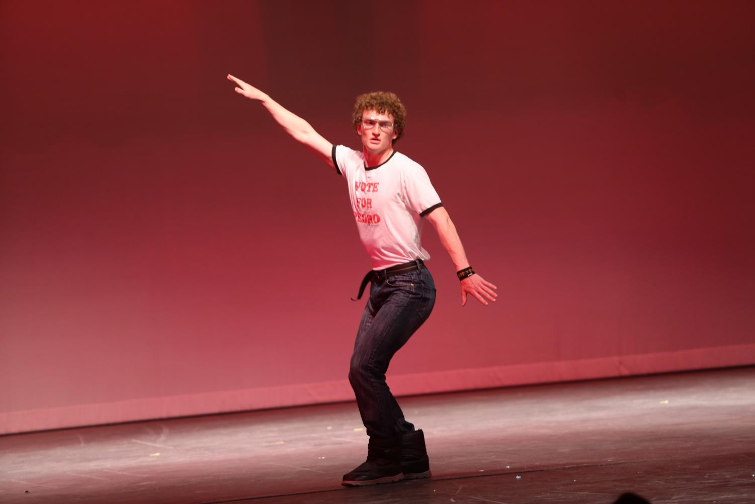 Explosion of talent: Kade Stoner dresses and performs like Napoleon Dynamite, outfit and all, he showed the crowd he was more than just an athlete.