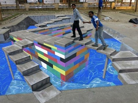 Chalk art can be used to create many different optical allusions.