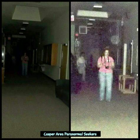 Ghost behind lady