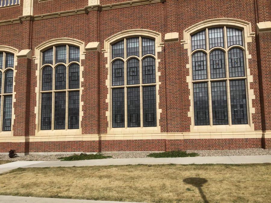 Windows of Jerry Walsh auditorium.