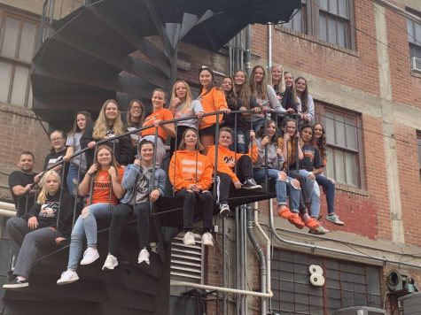Girls Swim Team poses for the camera at downtown Casper